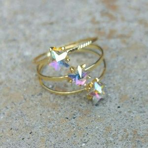 Jewelry - Jewelry | WHITE OPAL CRYSTAL STAR SPIRAL GOLD RING