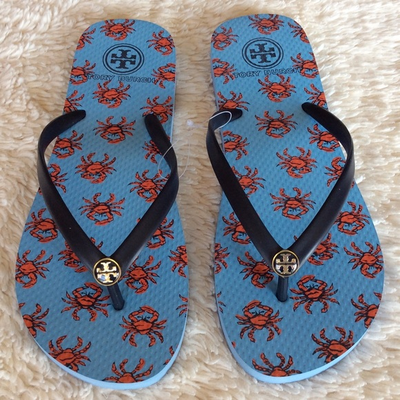 7245692fb1c TORY BURCH THIN FLIP FLOP CRABS COMBO TORY NAVY