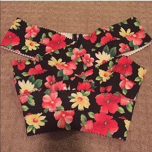 Off shoulder bandage floral crop top size medium