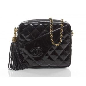 ed6e3308ffaa CHANEL Not for Sale · Chanel Black Patent Leather CC Flap Camera Bag