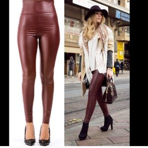 Gorgeous Wine Red Faux Leather Leggings💋