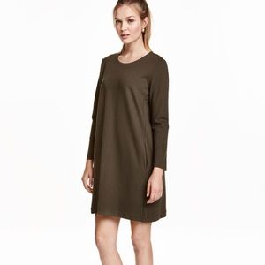 NWT H&m olive green long sleeve dress