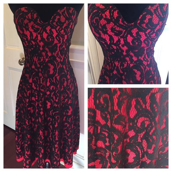 7e7734e2cc70 FINAL PRICE Vintage red black lace dress. M 5810eca66d64bcc8081233d6