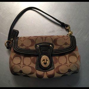 Coach Brown Signature & Leather Wristlet Handbag