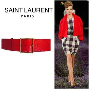 Yves Saint Laurent Accessories - YSL Textured Leather Belt in Red