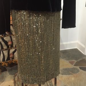 Ralph Lauren Purple Label Gold Beaded Skirt-10