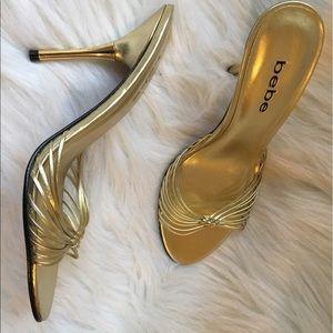 Bebe Gold Heels Sandals