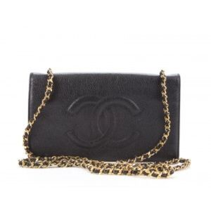Chanel Black Caviar Messenger Wallet On Chain WOC