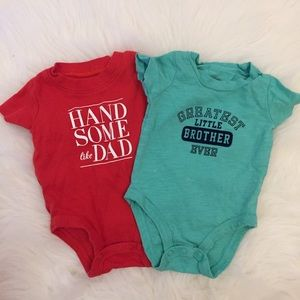 Carter's Other - Handsome Like Dad & Greatest Little Bro Onesies