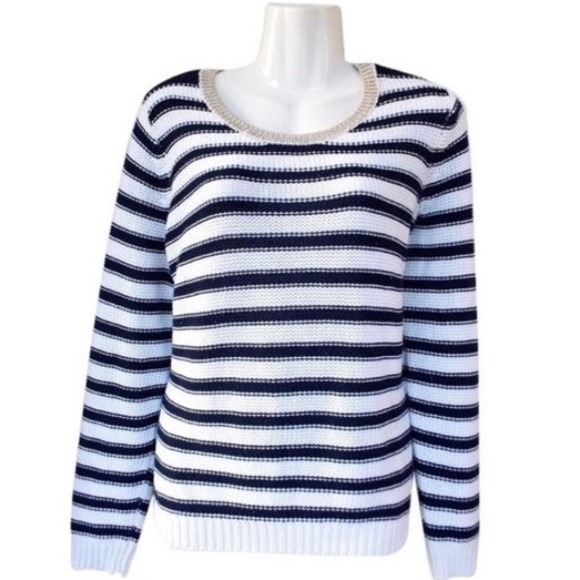 40% off H&M Sweaters - H&M Navy and White Striped Gold Trim ...