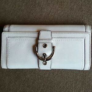 Coach white leather check book wallet
