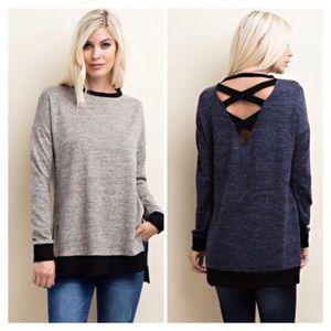 GlamVault Sweaters - Navy OR Grey LongSleeve CrissCross Back Sweater