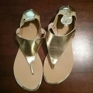 Bamboo Gold leather insole sandals Size 10
