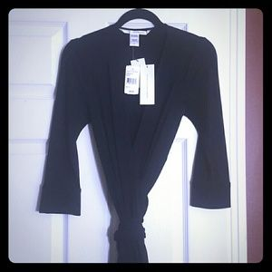 Dvf black Julian viscose wrap dress