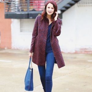 Ann Taylor Loft wine and navy coat cocoon