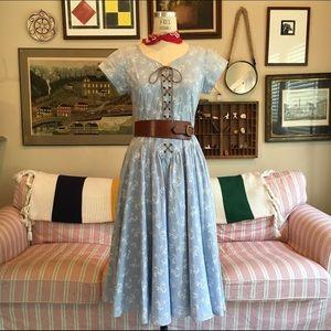 1970s Floral Denim Midi Dress, Moving Sale ✨