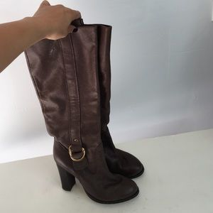 zara zara knee black suede thigh high leather boots from