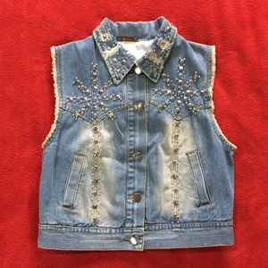 Distressed Denim Vest with Silver Studs Size Large