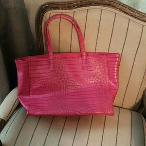 Hot pink Faux Snakeskin Tote