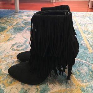 Zara suede fringe boots