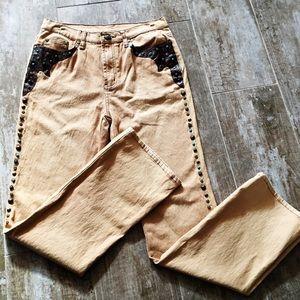 Diane Gilman Denim - Diane Gilman Tan Embellished Jeans Size 8