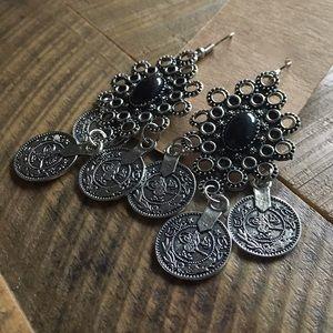 Jewelry - New silver & black chandelier bohemian earrings