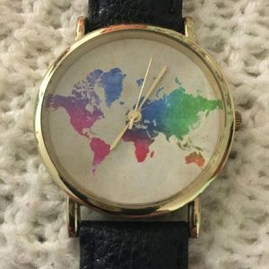 Vintage World Map Multicolored Watch