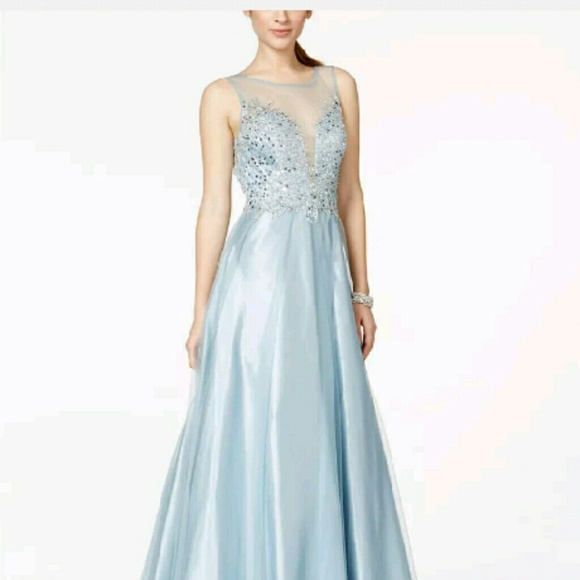 Betsy & Adam Dresses | Betsy Adam Blue Illusion Embellished Gown ...