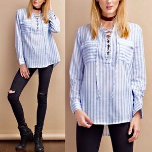 KANA lace up long sleeve top w/ pockets - BLUE