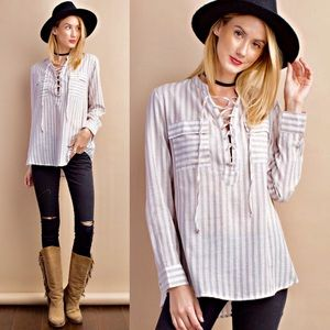 KANA lace up long sleeve top w/ pockets - TAUPE