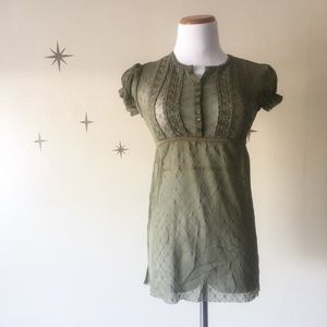 $10 & UNDER SALE! FP Olive Green Sheer Lace Top