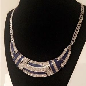  Silver & Blue Rhinestone Necklace 