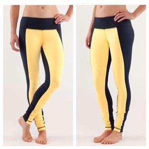 Lululemon Blue/Yellow Colorblock Wunder Under Pant