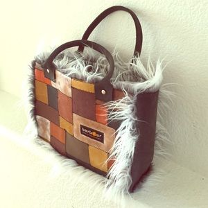Barbour Handbags - BARBOUR Boho Bohemian Patchwork Tote Leather Bag