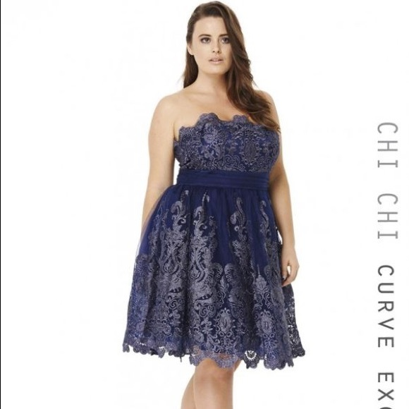 eba3381d3d34b chi chi london Dresses & Skirts - Chi Chi Clothing navy strapless dress  size 18
