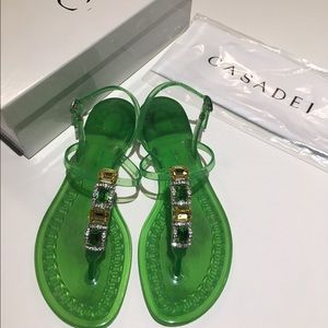 75b083029d56 Casadei Shoes - Casadei Jeweled Jelly Sandals with Swarovski