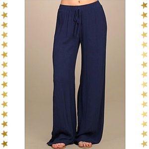 Navy Wide Leg Beach Pants size small