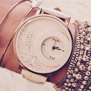 Rose Gold and White Crystal Large Face Watch