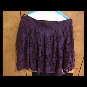 LOFT purple lace pleated skirt mini size 10