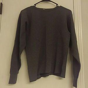 Gray Long Sleeved Ribbed Shirt