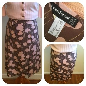 Louis Feraud Dresses & Skirts - Vintage Louis Feraud Silk Wrap Skirt w/Brown Print