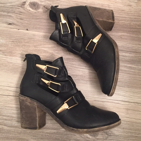 ada2c4396bab Dollhouse Shoes - Black Faux Leather Booties with Gold Buckles
