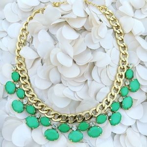 Mint Green and Gold Crystal Statement Necklace
