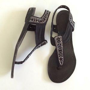 Shoes - Black jeweled wedge sandals sz 6.5