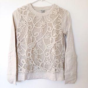 J. Crew Tops - J.Crew lace-front sweatshirt size XS