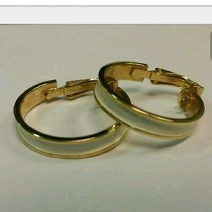 Vintage L. H. Segal Gold tone and white clip ons