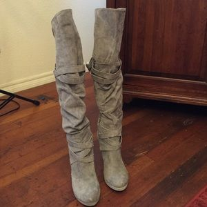Shoes - Grey Suede Over The Knee Boots