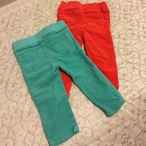 Other - 2 pair of corduroy pants 12 month-orange/turquoise