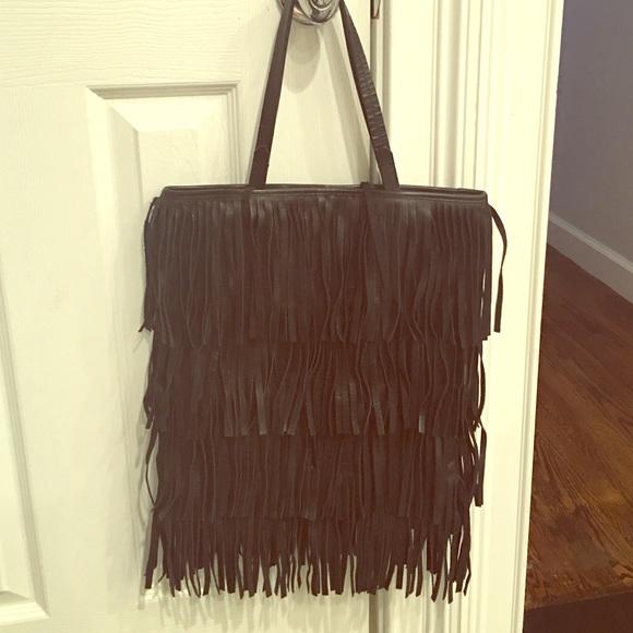 c297ae9b116 Zara fringe leather black bag. M_581148bb713fde7ac90022f9