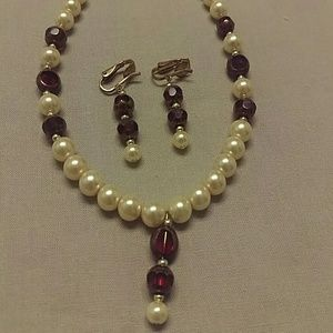 *DONATING SOON* Faux Pearl Necklace/Clip Ons